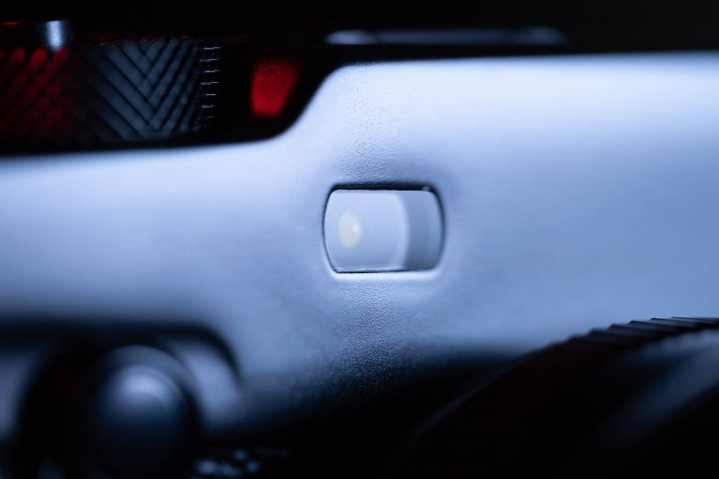 Closeup shot of the X-Pro3's autofocus assist lamp.