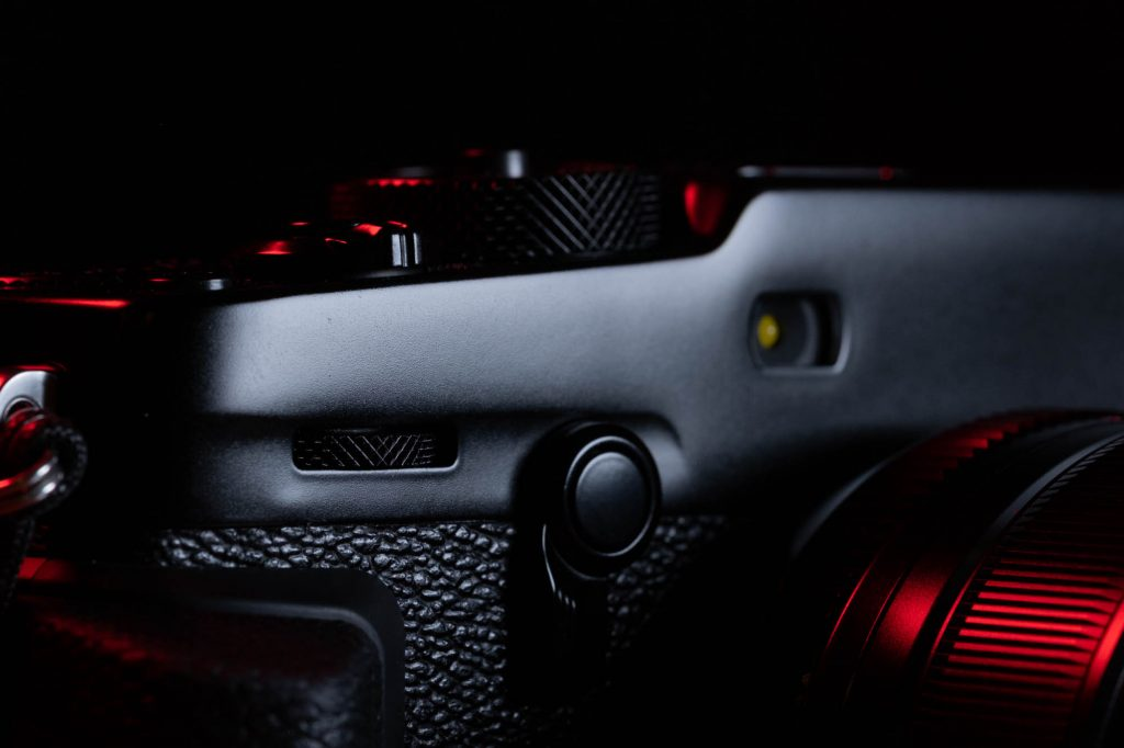 A closeup shot of the front of the X-Pro3.